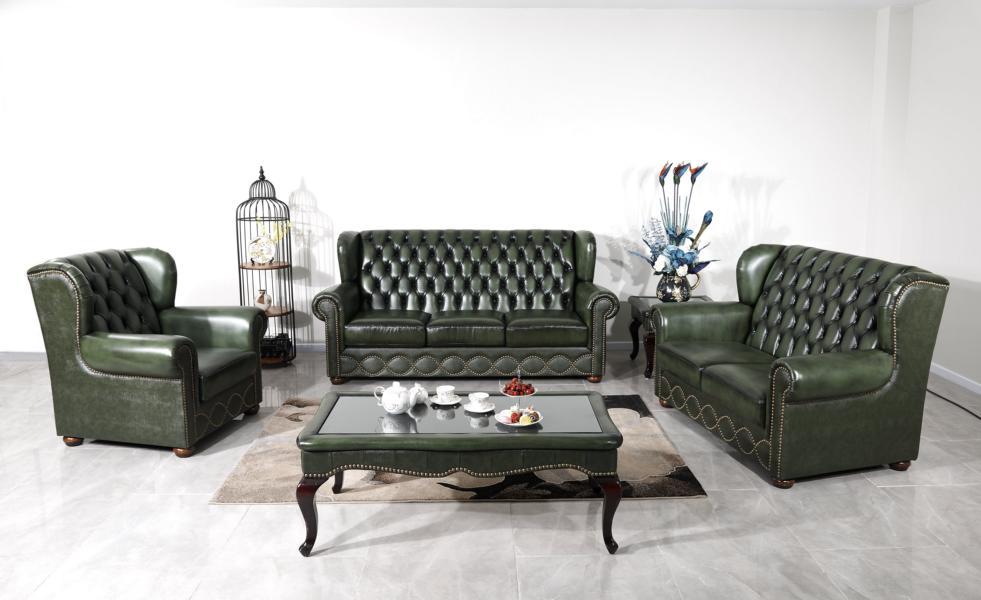 chesterfield sofagarnitur 3 2 1 york ledergarnitur. Black Bedroom Furniture Sets. Home Design Ideas