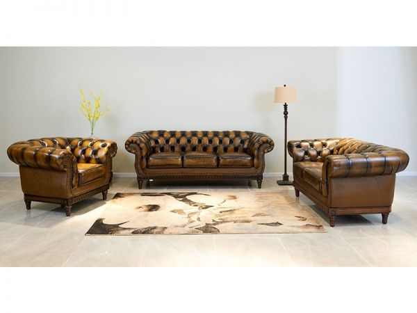 Chesterfield London Sofagarnitur (3/2/1 oder 3/1/1) Ledergarnitur Sonderpreis Salottini