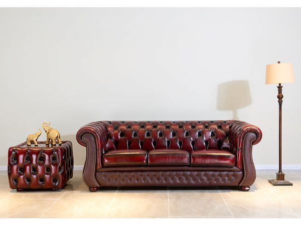 Chesterfield Liverpool Sofagarnitur (3/2/1 oder 3/1/1) Ledergarnitur Salottini Sonderpreis