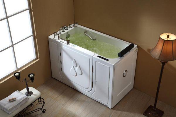 Seniorengerechter Whirlpool 148x77 Bode Senioren Badewanne mit Tür für 1 Person