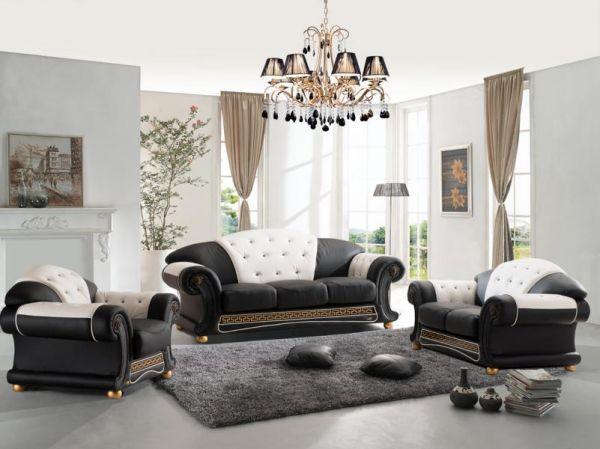 XL Luxus Chesterfield Oriental Style Sofagarnitur (3/2/1 oder 3/1/1) Ledergarnitur Salottini
