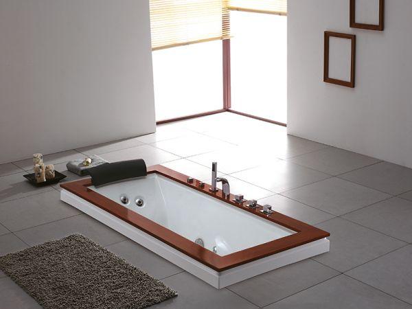 Whirlpool Geelong 185x90 Badewanne Whirlwanne Holzrand für 1 Person