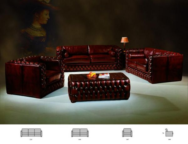 Chesterfield Sofagarnitur Norwich (3/2/1 oder 3/1/1) Ledergarnitur Salottini Sonderpreis