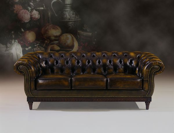 3er Sofa Chesterfield 3-Sitzer Couch London Ledersofa Salottini Sonderpreis