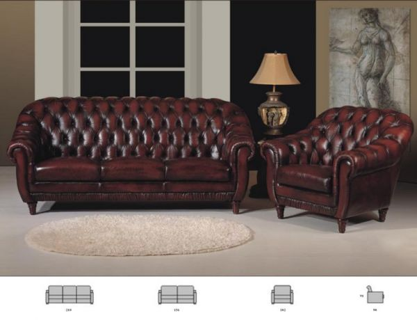 Chesterfield Sofagarnitur Swindon (3/2/1 oder 3/1/1) Ledergarnitur Salottini Sonderpreis