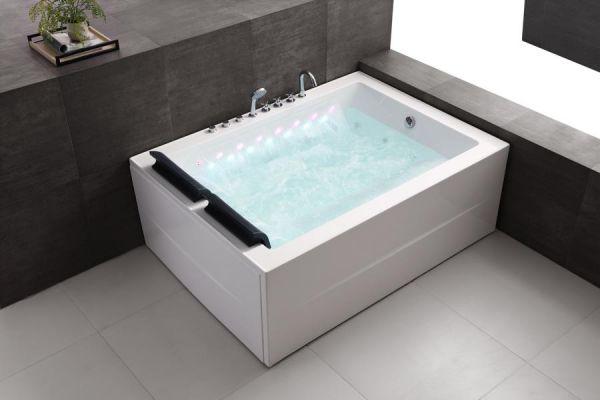 Whirlpool 180x131 Saale Badewanne Whirlwanne für 2 Personen mit Wasserfall