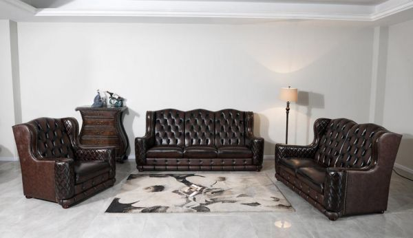 XL Luxus Chesterfield Watford Sofagarnitur (3/2/1 oder 3/1/1) Ledergarnitur Salottini