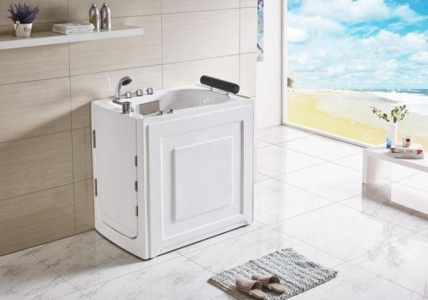 Seniorengerechter Whirlpool 101x72 Ruhr Senioren Badewanne mit Tür für 1 Person