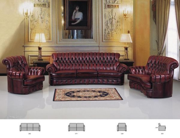 XL Chesterfield Sofagarnitur Lord 4/2/1 Ledergarnitur von Salottini Sonderpreis