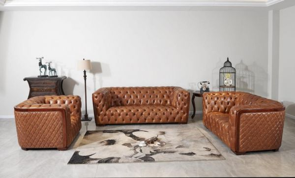 XL Luxus Chesterfield Dundee Sofagarnitur 3/2/1 Ledergarnitur von Salottini Sonderpreis