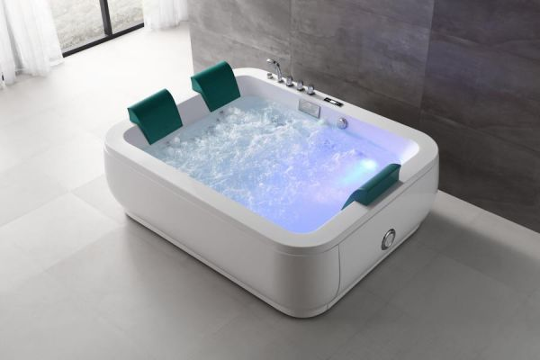 XL Freistehender Whirlpool 193x153 Mosel Badewanne Whirlwanne für 3 Personen