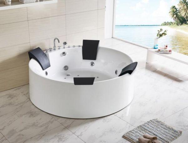 XL Freistehender Whirlpool 180x180 Lippe Badewanne Whirlwanne für 4 Personen
