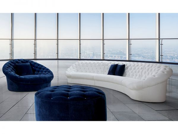 Stoff Chesterfield Ecksofa Paris Wohnlandschaft & Sessel & Hocker Salottini