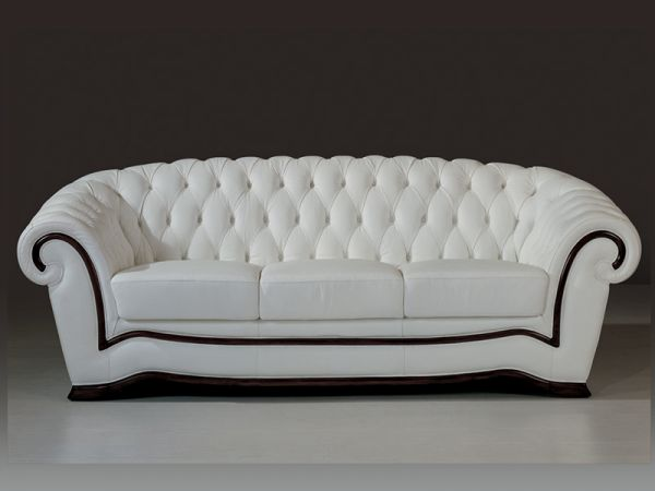 3er Sofa Chesterfield Couch Sheffield Ledersofa von Salottini