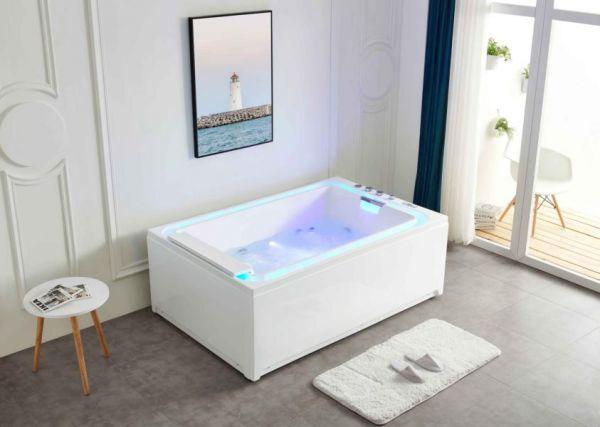 2 Pers. Whirlpool 185x120 Tegern Badewanne mit beleuchteten Wassereinlass Sonderpreis